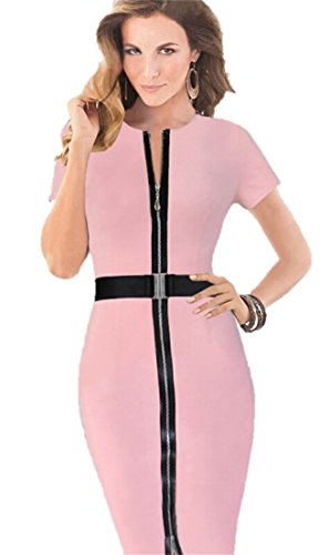 KingField - Robe - Crayon - Manches Courtes - Femme Multicolore Bigarré Multicolore - Rose