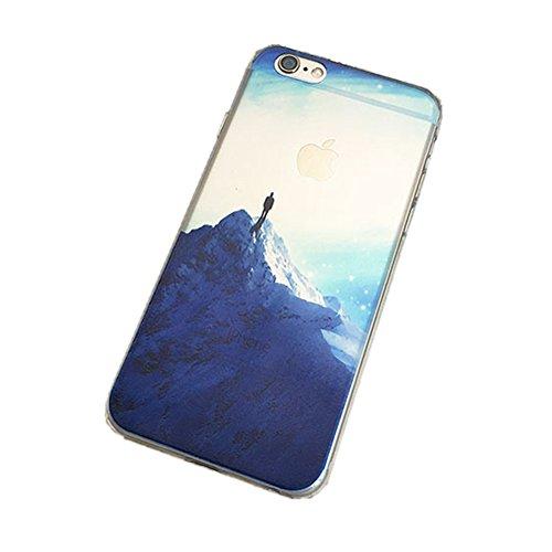 Jinberry Colorate Custodia Protettiva in TPU Morbida per iPhone6 (4.7) Dipinto Ultrasottile 0.5mm Case Back Cover con Protezione Tappi Polvere Apple iPhone 6 - Faro Snow Mountain