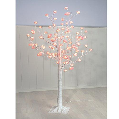 Albero luminoso in fiore, rosa, a led, 150cm, anche come albero di natale, luce bianca calda