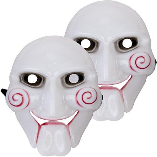 2x Jigsaw Halloween Fasching Karneval Maske gruselig - Jig Saw Killer mit Gummiband - Gesichtsmaske für Erwachsene
