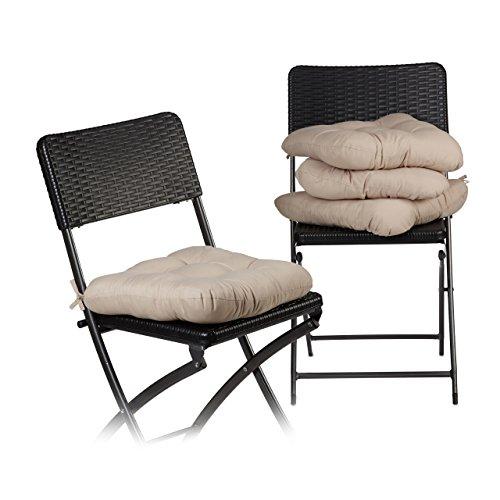 Relaxdays Stuhlkissen 4er Set ca. 40x40 cm Sitzkissen mit Schleife, Auflage für Stühle in Haus und Garten, ca. 10 cm dick, besonders weich, waschbar, Polyester, beige