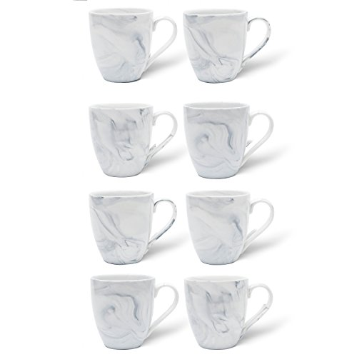 Hausmann & Söhne XL Tasse weiß groß aus Porzellan in Pastell Grauer Marmorierung | Tasse 350 ml...