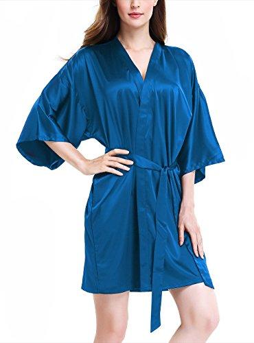 Genuwin Mujer Pijama Kimono Bata Corto, Satén Seda de Manga 3/4 de Aspecto Brillante Pijamas Albornozes...