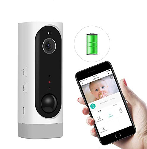 Openuye Akku Überwachungskamera, Kabellos IP Überwachungskamera 720p für Innen/Draussen mit PIR Sensor, Zwei-Wege Audio, Nachtsicht, Bewegungserkennung und Micro SD (Weiß)