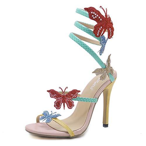 Lxmhz Womens High Heels Schmetterlings-Stilett geschlossen Spitzen Pumps Partei Schuhe geeignet für Büro, Arbeit, täglich, Bankett, Hochzeit,35 Stiletto Heel Ankle Tie