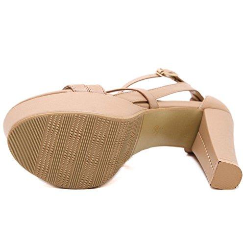COOLCEPT Femme Mode Talon Bloc Sandales GLadiateur Croise sangle A Soiree Chaussures Kaki