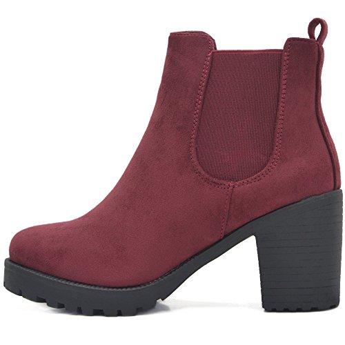 Plateau Stiefeletten in Vielen Farben und Mustern (38, Wein-Rot) (Rot Spike Heel Schuhe)