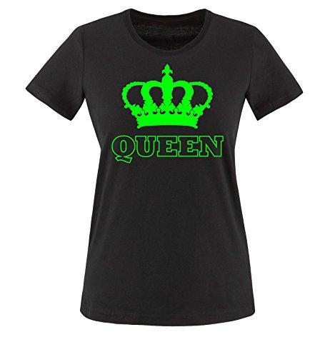 Liebe Fußball-mütter, T-shirt (Comedy Shirts - QUEEN - KRONE II - Damen T-Shirt - Schwarz / Neongrün Gr. XXL)