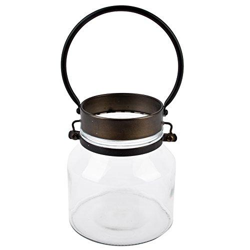 Dadeldo Living & Lifestyle Windlicht Vintage-Chique Design Metall-Glas grau Deko (18x15x15cm)