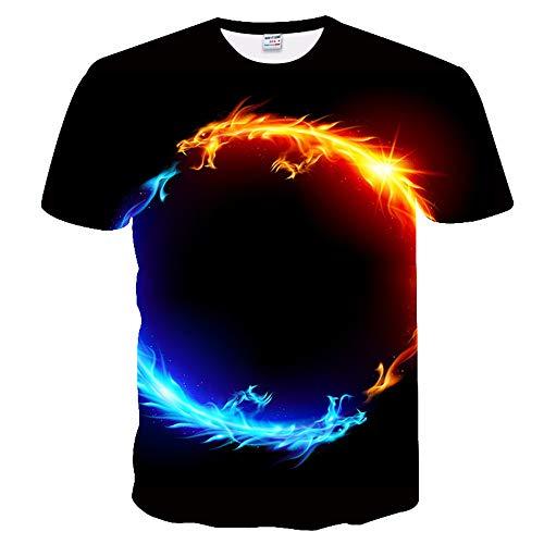 LYIUY Herren Universal 3D Creative Print Wasser Feuer Drache Planet Kurzarm T-Shirt Casual Pattern T-Shirt (Gott Des Feuers Kostüm)