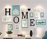 MYYDD Kreativer Fotorahmen, Moderne Foto-Wand Wohnzimmer-Esszimmer kreative Foto-Rahmen Wand Massivholz-Kombination Nordeuropa dekorative Bilderrahmen-Wand,whitegreen