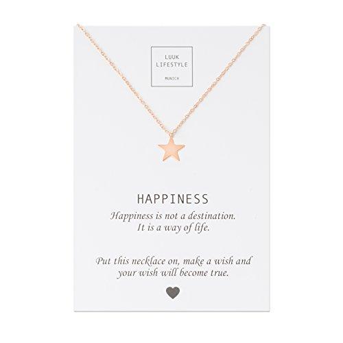 LUUK LIFESTYLE Edelstahl Halskette mit Stern Anhänger und Happiness Spruchkarte, Glücksbringer, Damen Schmuck, rosé