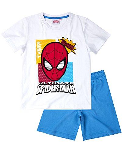 Spiderman-Ragazzi-Pigiama-maniche-corte-bianco