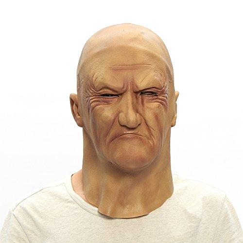 HELEISH Realistische Maske des Alten Mannes Verkleidungs-Halloween-Fantastische Bruiser-Latex-Partei-Gesichtsmaske Motorradzubehör