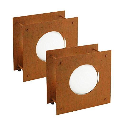 Set di 2 lampade a stelo balcone Cortile di vetro Luci esterne riflettori stand in (Rust Brown Set Esterno)