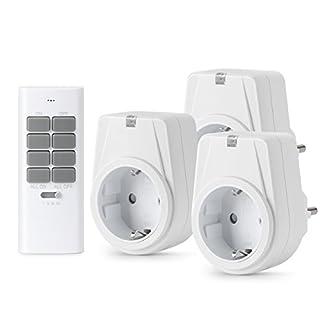 Lunvon 12-Kanal Funksteckdosen Set aus 3 x Funksteckdose mit 1 x Fernbedienung, Funkschalt Set Selbstlern-Funktion, 1000 Watt für Weihnachtsschmuck, Haushaltsgeräte, Reichweite 30m, Weiß
