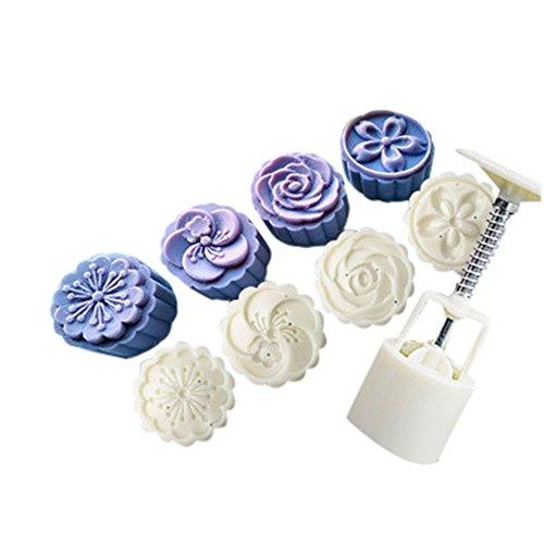 ikon Backformen Set, Küche Backen Back- & Tortenbodenformen, 4 Style Stamps 50g Runde Blume Mond Kuchen Schimmel Schimmel Weiß Set Mooncake Decor ()