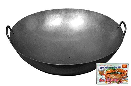 [ Eisen-Wok Ø 61 cm runder Boden, Doppelgriff ] Asiatische Eisenpfanne 24