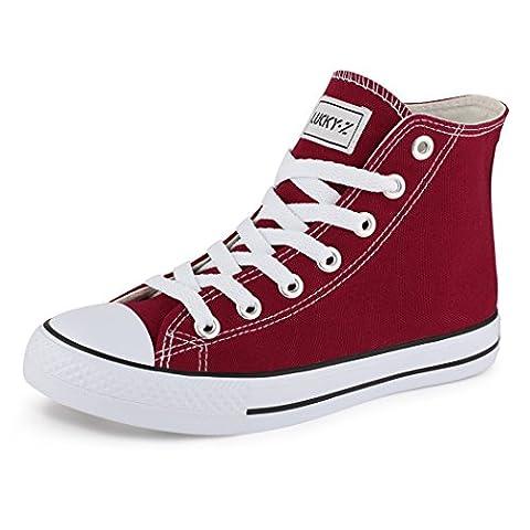 best-boots , Sneakers femme homme, Rouge - High Top Weinrot, 37 EU