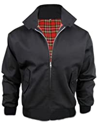 [Black, X-Large] MENS CASUAL CLASSIC RETRO CHECK LINED HARRINGTON BOMBER JACKET 3 COLOURS S-3XL