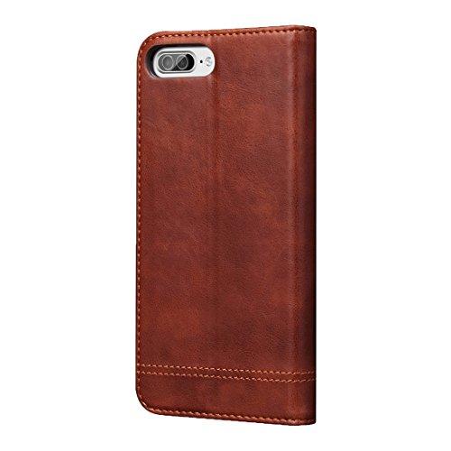 Hülle für iPhone 7 plus , Schutzhülle Für iPhone 7 Plus Retro Verrückte Pferd Textur Magnetische Adsorption Horizontale Flip Leder Tasche mit Card Slot & Holder & Wallet ,hülle für iPhone 7 plus , cas Coffee