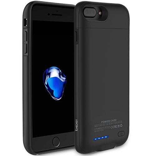 ICHECKEY 4200mAh Akku Hülle für iPhone 6 Plus/6s Plus/7 Plus 5.5 Zoll Smart Power Case Automatisch Magnetisch Absorption Akkucase Lithium-Polymer Dünne Batterie Hülle Battery Case (Schwarz)