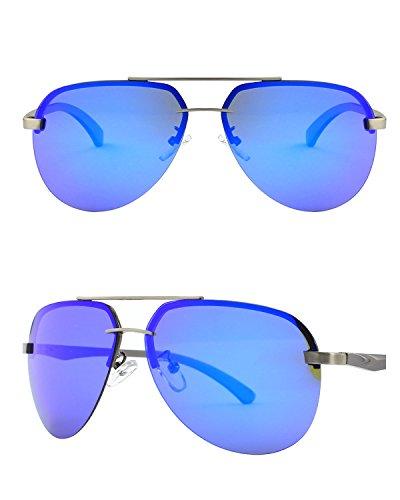 CGID GA43 Lunettes de soleil polarisées UV400 aviator sans monture en alliage Al-Mg premium, Lunettes de soleil réfléchissantes avec charnières à ressort pour hommes et femmes Marron Bleu