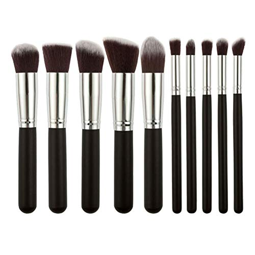 GODGETS 10 Kit de Pinceau Maquillage Professionnel 10PCS Eyebrow Shadow Blush Fond de Teint Anti-Cerne,Argent Noir,10 Pièces