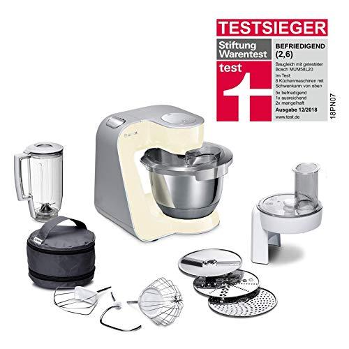 Bosch MUM5 MUM58920 CreationLine Küchenmaschine (1000 W, 3 Rührwerkzeuge Edelstahl, spülmaschinenfest, Rührschüssel 3,9 Liter, max Teigmenge 2,7kg, Durchlaufschnitzler 3 Scheiben, Mixaufsatz) vanilla