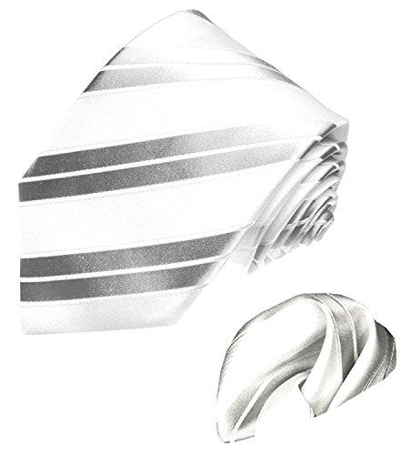 LORENZO CANA - Marken Set aus 100% Seide : Krawatte mit Eintstecktuch - weiß silber...