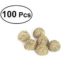 ULTNICE 100pcs filtro de tubo de tabaco filete de bola de filtro de metal filtros de tubería de fumar 17mm (de oro)
