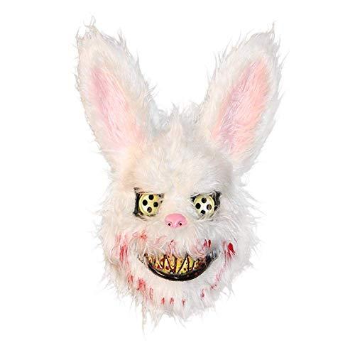 LZEN Halloween Plüsch Cosplay Maske, weißes Häschen blutig gruselig gruselig Maske Halloween Horror Killer Kostüm (Kaninchen Kostüm Streich)