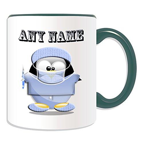 Personalisiertes Geschenk–Chirurg mit Skalpell Tasse (Pinguin in Kostüm Design Thema, Farbe Optionen)–alle Nachricht/Name auf Ihre einzigartige–Doctor Scrubs Uniform, keramik, (Scrubs Chirurgen Kostüm)