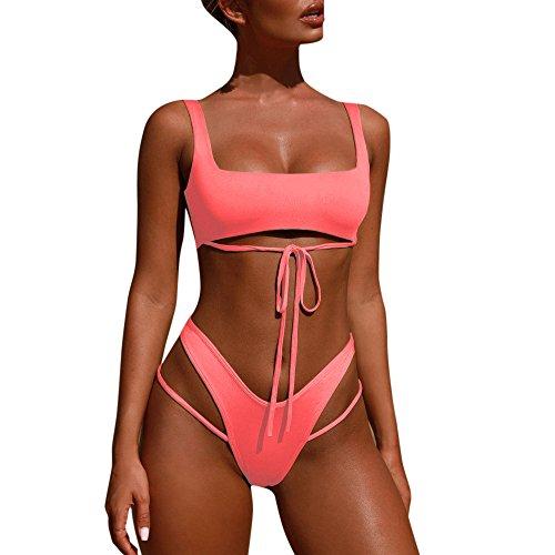 Bikini-Set Rovinci Damen Bikinis Strand Bikini-Sets Frauen Sport Bademode Push up BH Bandeau Bikinioberteil Badeanzug Einfarbig Bodysuits Bandage Swimsuit Swimwear Beachwear (L, Rosa)