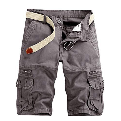 Herren Cargo Hose, Sumeiwilly Männer Sommer Kurze Hose Vintage Bermuda Shorts Baumwolle Sporthose Jogger Sweatpants mit Reißverschlusstasche -