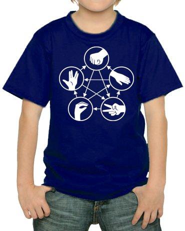 Stein Schere Papier Echse Spock Kinder T-Shirt Navy, 152/164 (Big Bekleidung Kinder)