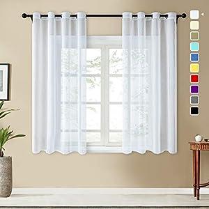 Topfinel Voile Vorhänge Leinenstruktur mit Ösen Durchsichtig Einfarbig für Fenster Wohnzimmer Schlafzimmer Moderne und Elegante Gardine 2er Set je 160x140cm (HxB) Weiß
