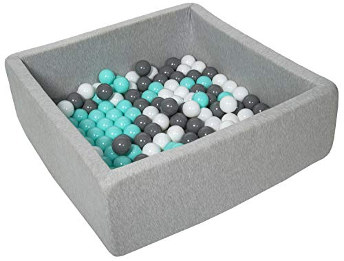 Velinda Bällebad Ballpool Kugelbad Bällchenbad Kinder-Pool mit 150 Bällen/90x90cm (Farbe der Bälle: weiß, Grau, türkis)