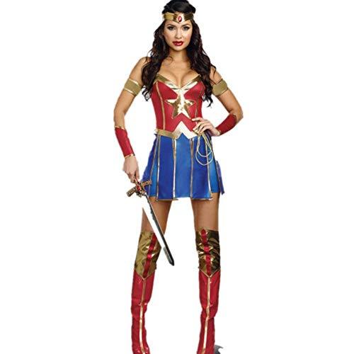 LBFKJ Halloween Superwoman Cosplay Uniform Warrior Kostüm, Stage Wonder Woman Kostüm,XXL