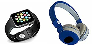 MIRZA Smart Watch & JBL 881C Bluetooth Headphones for MICROMAX CANVAS XPRESS.(JBL 881C Bluetooth Headphones & Bluetooth A1 Smart Watch,Wrist Watch Phone with Camera & SIM Card Support Hot Fashion New Arrival Best Selling Premium Quality Lowest Price with Apps like Facebook,Whatsapp, Twitter, Sports, Health, Pedometer, Sedentary Remind & Sleep Monitoring, Better Display, Loud Speaker, Microphone, Touch Screen, Multi-Language, Compatible with Android iOS Mobile Tablet-Assorted Color)
