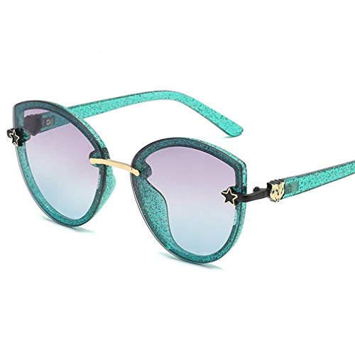 HQMGLASSES Frauen Cateye Sonnenbrillen Sparkling Frame Pentagonal verschönern Gradient Lens Shades Sonnenbrille für Driving/Holiday, UV 400 Schutz,GreenFrame/PurpleGreenLens