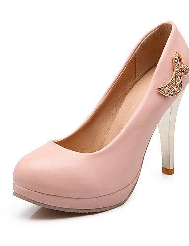 WSS 2016 Chaussures Femme-Bureau & Travail / Décontracté-Bleu / Rose / Beige-Talon Aiguille-Talons / Bout Arrondi-Talons-Polyuréthane beige-us6 / eu36 / uk4 / cn36