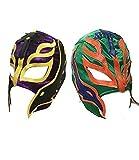 UK 2 (Due) Colore Casuale Rey Mysterio Wrestling Halloween Carnevale Cosplay Cosplay per Tutta la Testa Maschera - Taglia Universale Zip Wwe