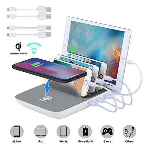 Estación de Carga USB ValueTalks Base de Carga Multifunción de 4 Puertos con Cargador Inalambrico Múltiples Cargador de Escritorio para Phone Galaxy Huawei Ipad y Kindle