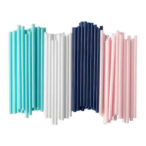"""IKEA Set \""""Sötvatten\"""" 100 Trinkhalme gemischt mit breiten 8 mm Durchmesser Dunkelblau, Weiß, Hellgrün und Hellrosa"""