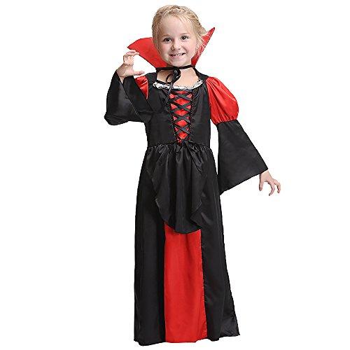 FIZZENN Mädchen Vampir Kostüm Outfit, Gothic Prinzessin Robe/viktorianische Königin Kostüm, Blutsauger Kleid für Halloween (Blutsauger Kind Kostüm)