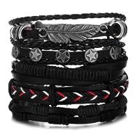 Bracelet for Men. Leather Hand-knitted Multi-layer/Men's Bracelet 5pcs