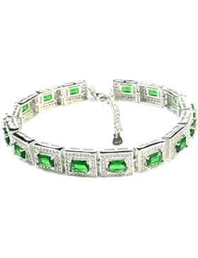 Elensan1 Fashion Erstellt Smaragd S925 Sterling Silber Rechteck Armband, Verlängerungskabel 5cm