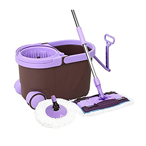 BEITE- Easy Wring 360 ° Spin Mop and Bucket System, Luxueux Avec 2 Roues, Avec 2 Têtes Microfibres, Système Dual Function pour le lavage et le Spin Drying