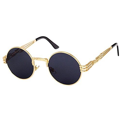 Highdas Lunettes de soleil Steampunk Punk Rock Unisex Gold Frame/Gris